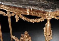 Detail images: Französischer Louis XVI-Wandkonsoltisch mit Marmorplatte