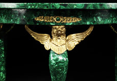 Detail images: Malachittisch mit feuervergoldeter Bronze