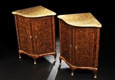 Detail images: Paar Louis XV-Eckschränkchen