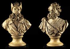 Detailabbildung: Büstenpaar der Stammhausbegründer der lombardischen Familie Visconti
