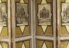 Detail images: Großer Paravent mit Kupferstichauflagen