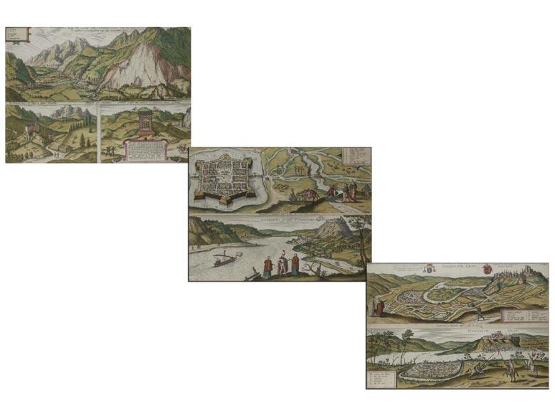 """Satz von drei gerahmten doppelbögigen Stichdarstellungen von Georg Hufnagel, datiert """"1590"""""""