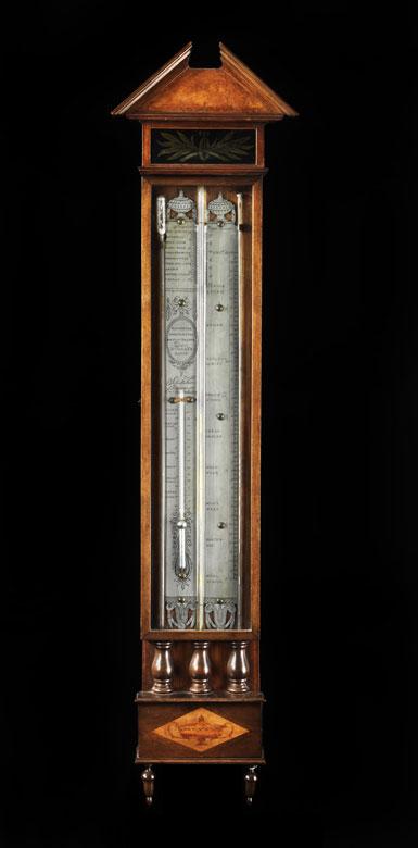 Niederländisches Bakbarometer mit einfacher Röhre, Barometer und Thermometer mit Quecksilberfüllung