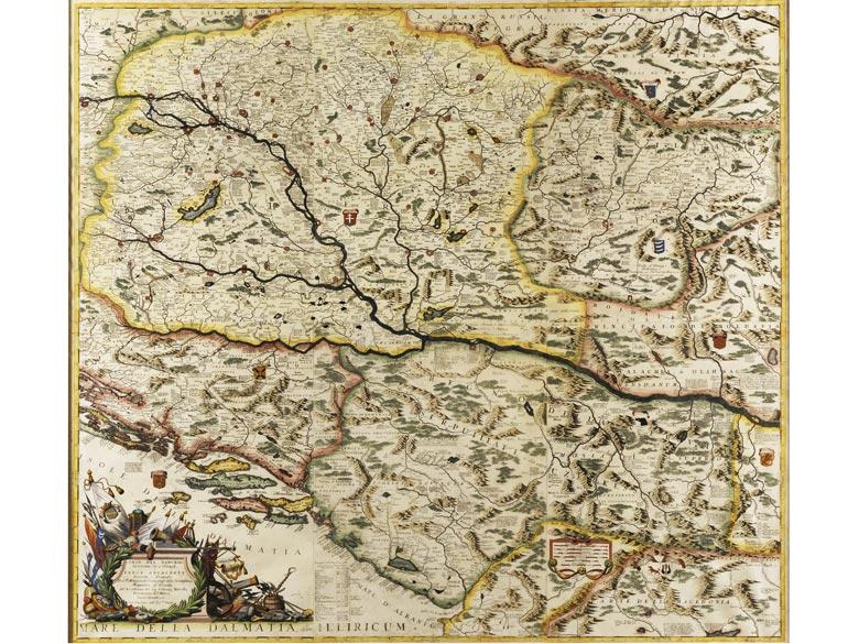 "Große, handkolorierte Landkarte ""Corso del Danubio/ da Vienna Sin a Nicopoli e Paesi Adiacenti..."""