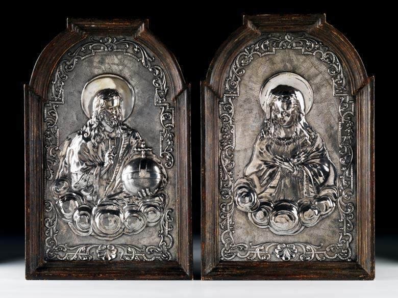 Paar Silberbildreliefs
