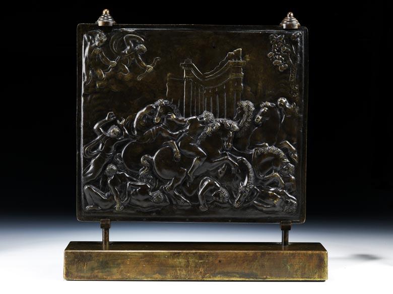 Bildreliefplatte in Bronze