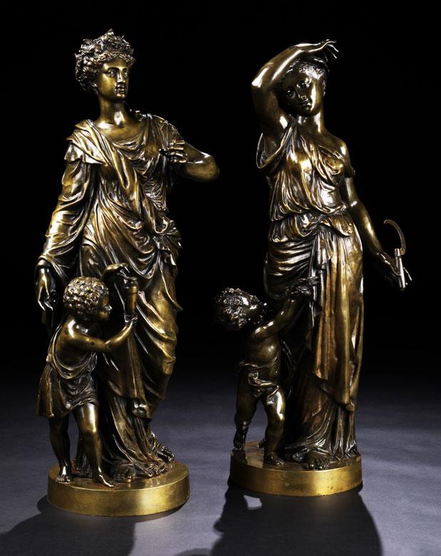 Paar große Bronzfiguren