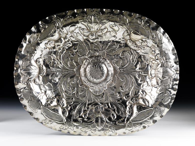 Ovale Silberschauplatte