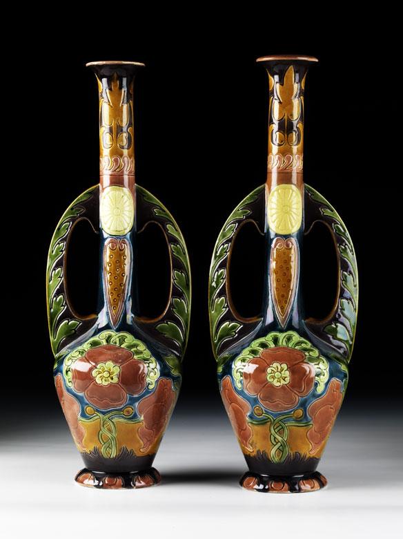 Paar Nürnberger Jugendstil-Vasen