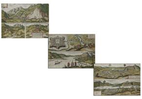 """Detail images:  Satz von drei gerahmten doppelbögigen Stichdarstellungen von Georg Hufnagel, datiert """"1590"""""""