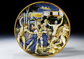 Detail images:  Majolika-Platte mit Bilddarstellung