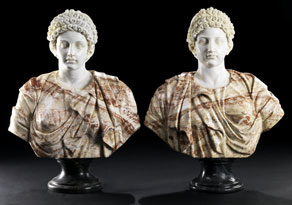 Detail images:  Paar Marmor-Büsten