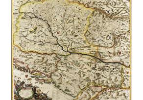 "Detail images:  Große, handkolorierte Landkarte ""Corso del Danubio/ da Vienna Sin a Nicopoli e Paesi Adiacenti..."""
