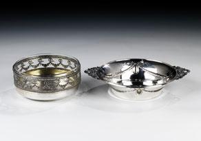 Detail images:  Zwei Konfektschalen aus Silber
