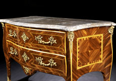 Detail images: Louis XV-Kommode mit grauer Marmorplatte