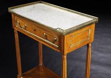 Detail images: Kleiner, eleganter Louis XVI-Wandtisch mit Marmorplatte (Table de Dessert)