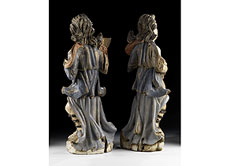 Detail images: Paar geschnitzte und gefasste Leuchterengel