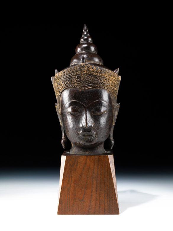 Buddha-Kopf in Bronze