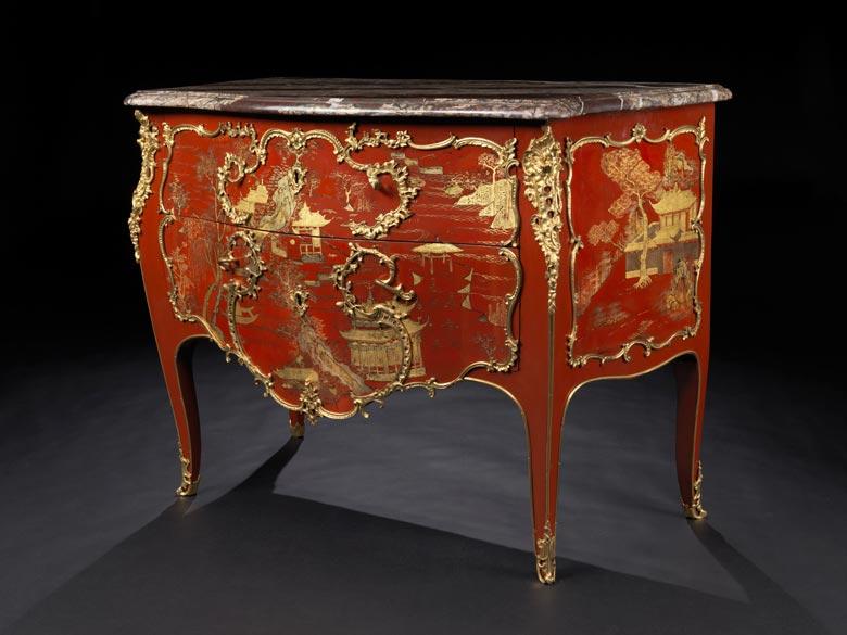 Bedeutende und seltene Louis XV-Lackkommode mit Chinoiserie-Dekor von Mathieu Criaerd