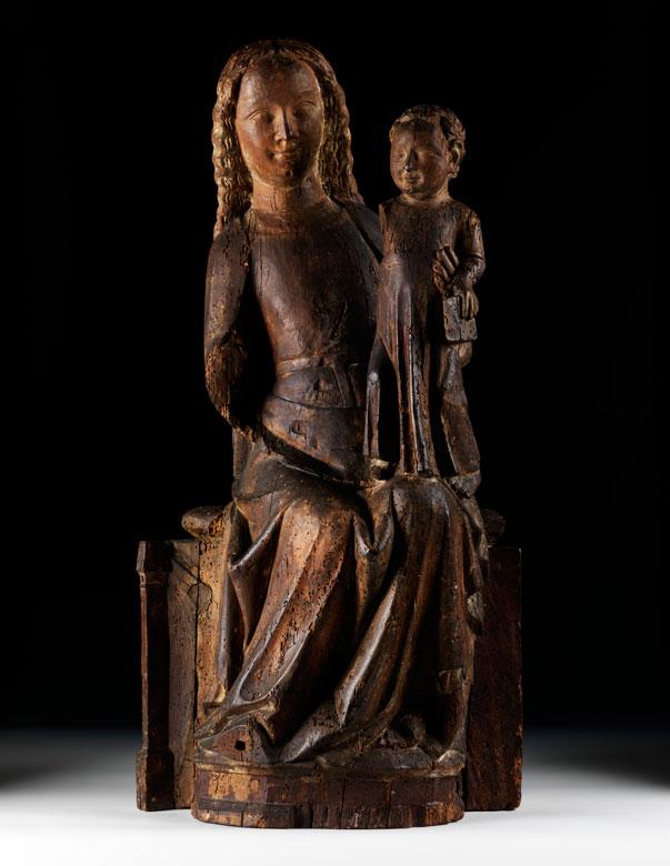 Frühgotische thronende Madonna mit Kind