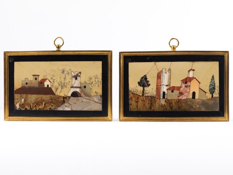 Paar Pietra Dura-Landschaftsbilder