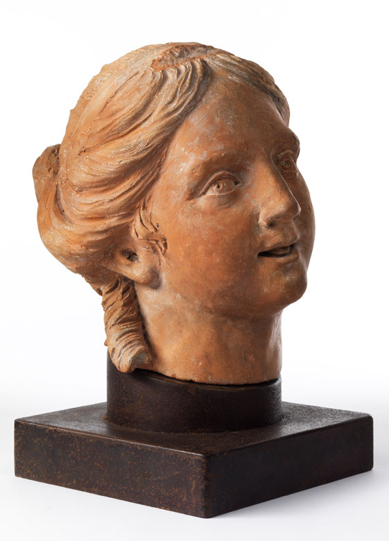 Weiblicher Kopf in Terracotta