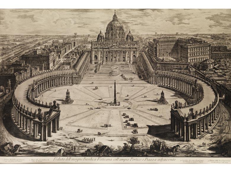 Kupferstich mit Vedute der Vatikansbasilika, Petersdom mit den Arkaden des Petersplatzes
