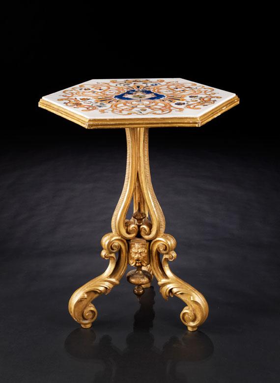 Salon-Tisch mit Pietra Dura-Platte