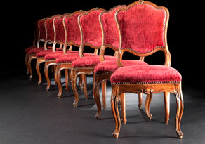 Detail images:  Satz von zehn lombardischen Rokoko-Stühlen