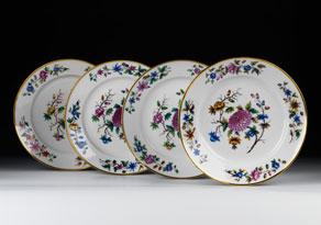 Detail images:  Satz von vier Tellern der kaiserlichen Porzellanmanufaktur