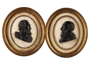 Detail images:  Paar gerahmte Büstenreliefs