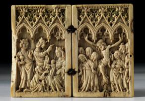 Detailabbildung:  Gotisches Elfenbein-Diptychon