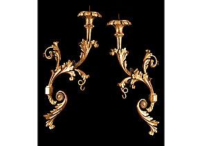 Detail images:  Paar große, barocke Wandleuchterarme
