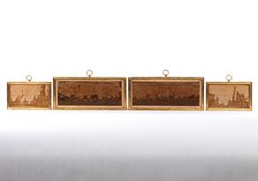 Detail images:  Satz von zwei großen und zwei kleinen Ruinenmarmortafeln in vergoldeten Rahmungen