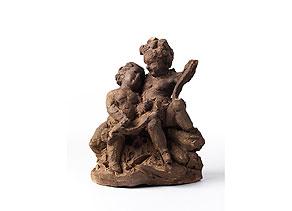 Detail images:  Ton-Bozzetto mit Darstellung zweier Kinder