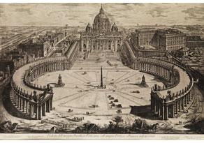 Detail images:  Kupferstich mit Vedute der Vatikansbasilika, Petersdom mit den Arkaden des Petersplatzes