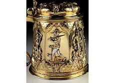 Detail images: Seltener, vergoldeter Silberhumpen mit allegorischen Planetendarstellungen