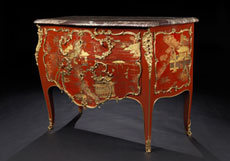 Detailabbildung: Bedeutende und seltene Louis XV-Lackkommode mit Chinoiserie-Dekor von Mathieu Criaerd