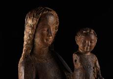 Detail images: Frühgotische thronende Madonna mit Kind