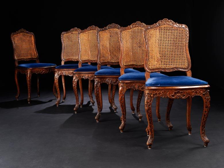 Satz von sechs Louis XV-Stühlen