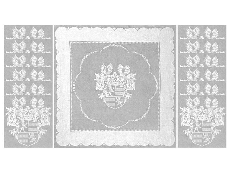Prachtvolle Tafelgarnitur mit den Wappen der Familie der Grafen v. Walderdorff