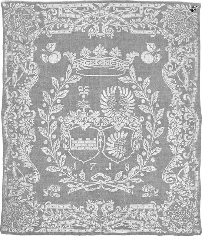 Mundtuch mit den Wappen der Familien v. Ziegler und Klipphausen und v. Pentzig