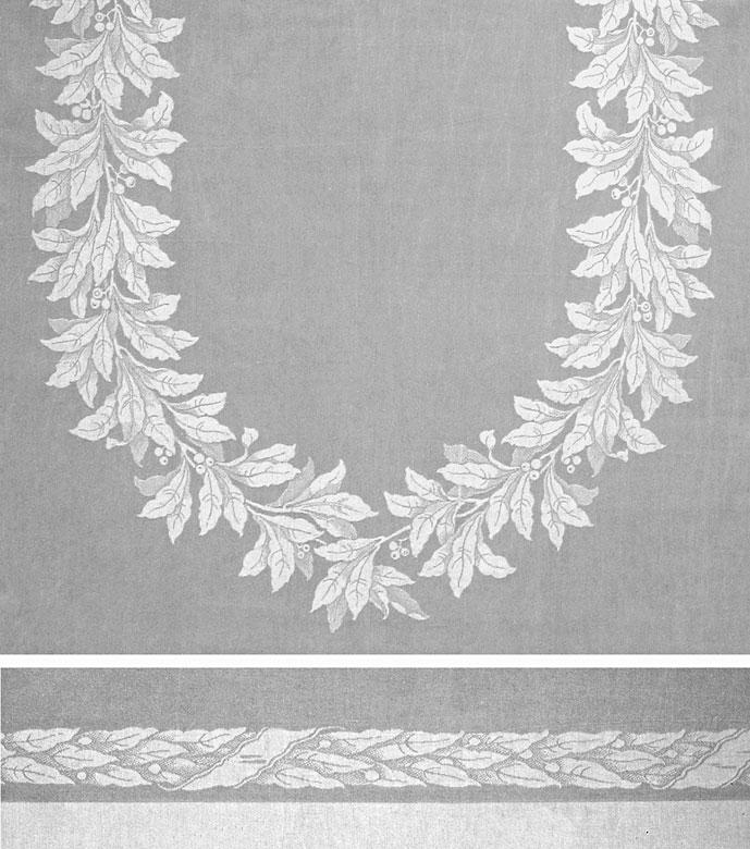 Großes Tafeltuch mit klassizistischem Lorbeeroval