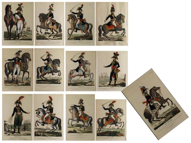 Serie von 13 Stichen mit Darstellung der Generäle und Admiräle des französischen Heeres gegen England