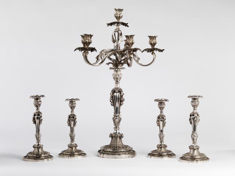 Tischleuchter-Garnitur der französischen Silbermanufaktur Odiot (seit 1690)