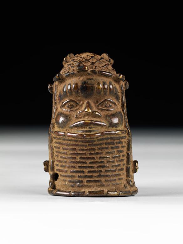 Kleiner Benin-Königskopf in Bronze
