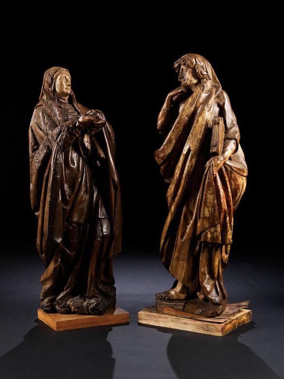Schnitzfigurenpaar: Johannes und Maria