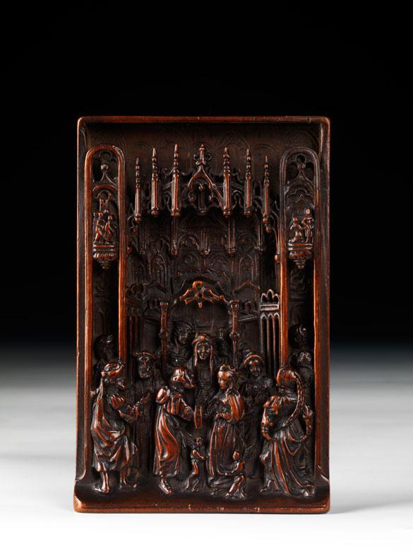 Kleine Schnitztafel mit Darstellung der Vermählung von Josef und Maria