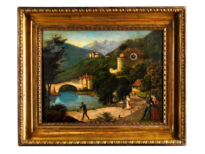 Bilderuhr mit Darstellung von Kufstein am Inn (?)