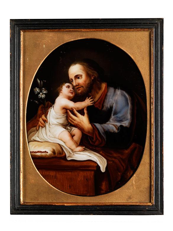 Hinterglasbild mit Darstellung des Heiligen Joseph mit dem sitzenden Jesuskind